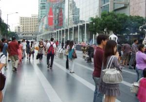 バンコクのセントラルワールド前広場