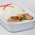 タイ風ホットバジル炒めとライス/エアアジア