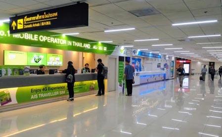 ドンムアン空港連絡通路1階にあるSIMカード売場